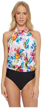 Tropical Trip High Neck Blouson Maillot (Multi) Women's Swimsuits One Piece