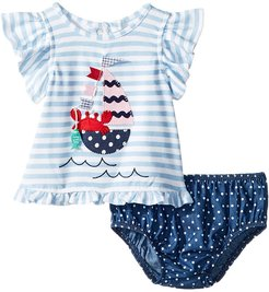 Sailboat Pinafore and Bloomer Two-Piece Set (Infant) (Blue) Girl's Suits Sets