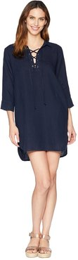 3/4 Sleeve Tie Front Dress (Lapis) Women's Dress