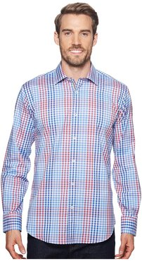 Shaped Fit Plaid Woven Shirt (Classic Blue) Men's Clothing
