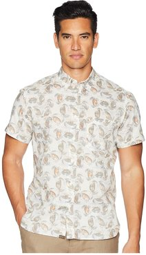 Short Sleeve Tuscumbia Crab Print Shirt (Cream) Men's Short Sleeve Button Up