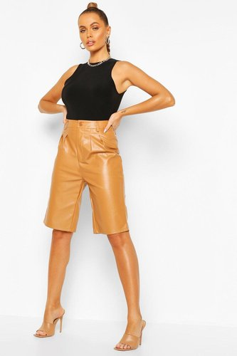 Leather Look Tailored City Short - brown - 12