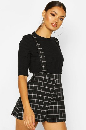 Grid flannel Tailored Pinnafore Short - black - 4