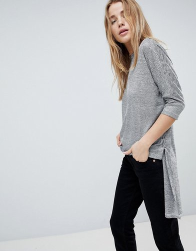 Step Hem Sweater With Tie Sides - Silver