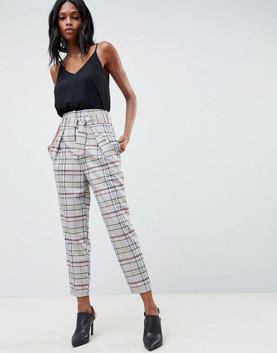 tailored tapered PANTS with d-ring in gray check - Multi