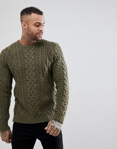 ASOS Chunky Cable Knit Sweater In Khaki - Green