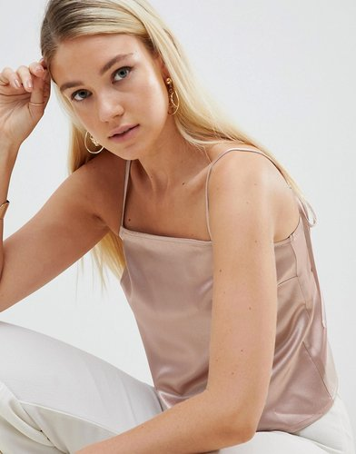 satin cami with square neck and tie straps - Gold