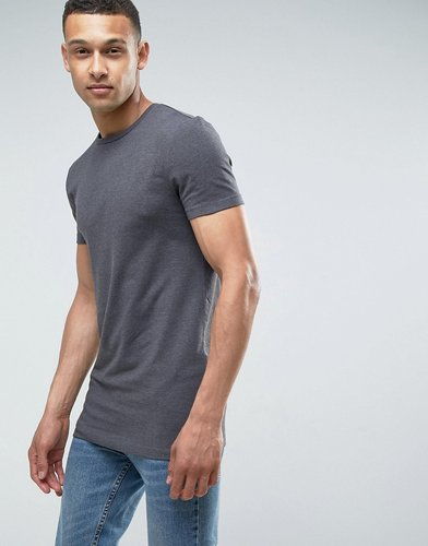 longline muscle fit t-shirt in charcoal marl - Gray