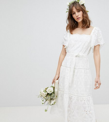 Exclusive Floral Embroidered Smock Midi Dress - White
