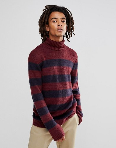 Fluffy Sweater In Navy And Burgundy Stripe - Multi