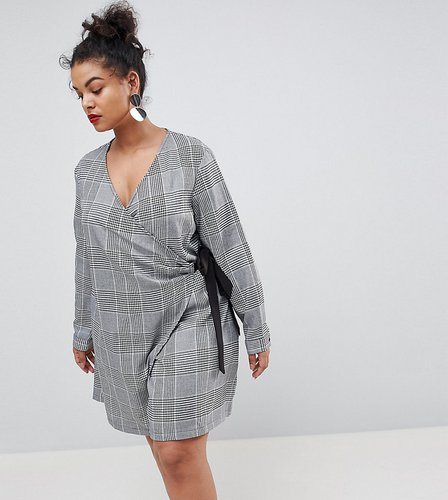 Wrap Dress With Tie Waist In Prince Of Wales Check - Gray