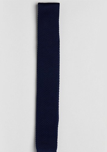 knitted slim square tie - Navy