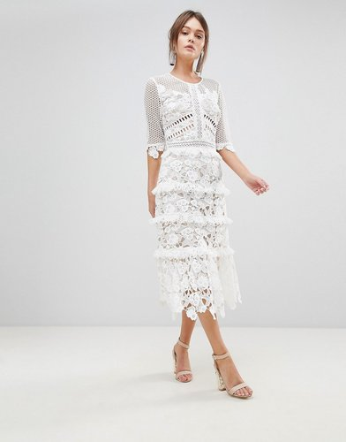 Premium All Over Cutwork Lace Contrast Midi Dress With Frill Sleeve Detail - White