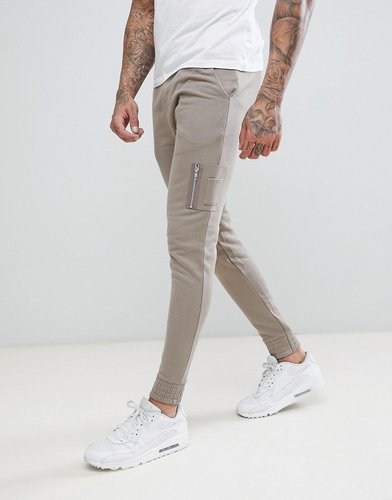 ASOS Skinny Joggers With MA1 Pocket In Beige - Beige