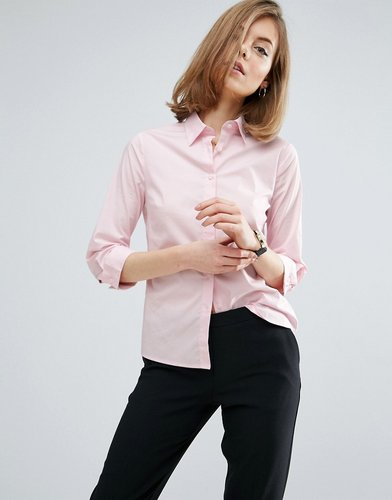 3/4 Sleeve pink Shirt in Stretch Cotton - Pink