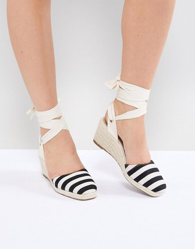 Stripe Espadrille Wedge Heel Sandals - Multi