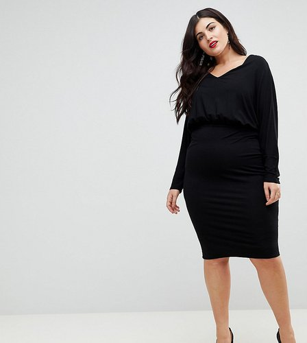 Batwing Sleeve Midi Dress - Black