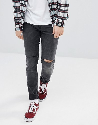 ASOS Skinny Jeans In Washed Black With Knee Rips - Black
