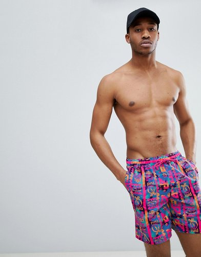 Swim Shorts With Bright Geo-Tribal Print In Mid Length - Multi