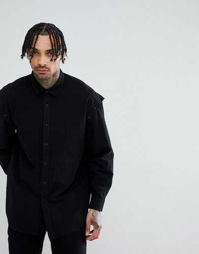 DESIGN Oversized Shirt With Button Off Sleeve - Black