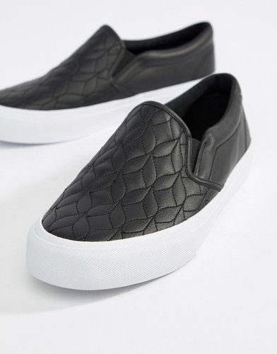 slip on plimsolls in black with quilted detail - Black