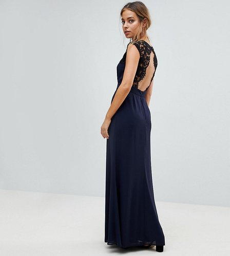 Maxi Dress With Cut Out Lace Back - Navy