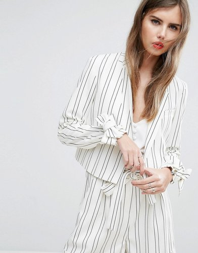 Cropped Striped Bow Cuff Jacket Co-ord - Multi