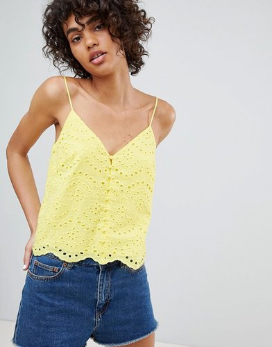 broderie cami strap top in yellow - Yellow