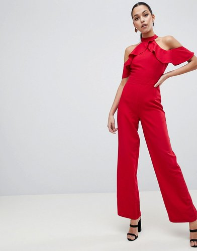 Halter Neck Jumpsuit with Ruffle Detail - Red