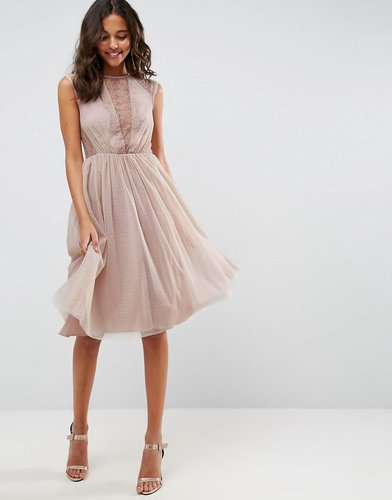 Lace Tulle Cap Sleeve Midi Dress - Pink