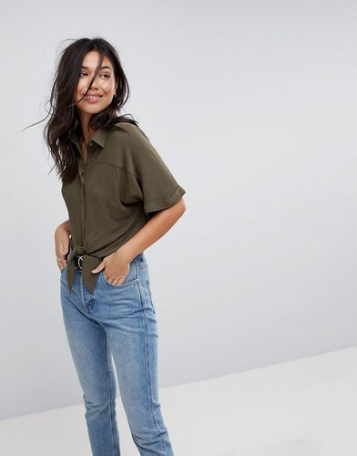 Tie Front Shirt in Crinkle - Green