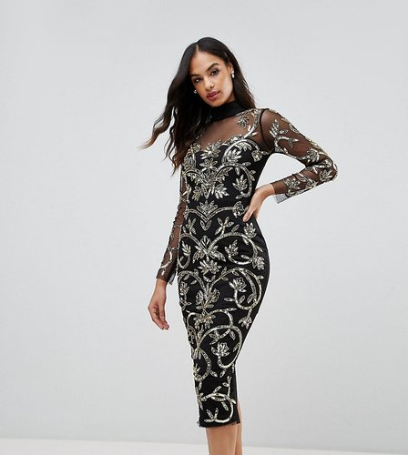 High Neck Sequin Midi Dress with Baroque Pattern - Black