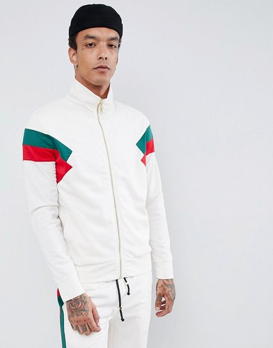 track jacket in white with red side stripe - White
