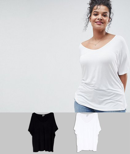 ASOS DESIGN Curve t-shirt with drapey batwing sleeve 2 pack - Multi