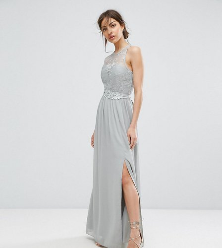 Lace Maxi Dress With Belt - Gray