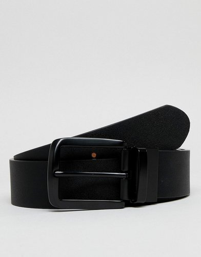faux leather wide reversible belt in black and tan - Black