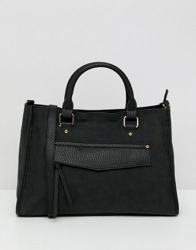 hidden pocket soft tote - Black