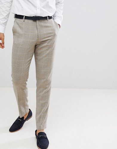 skinny smart pants in putty wool mix check - Gray