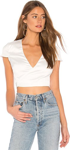 Thalia Satin Wrap Crop Top in White. - size XXS (also in L,XL)
