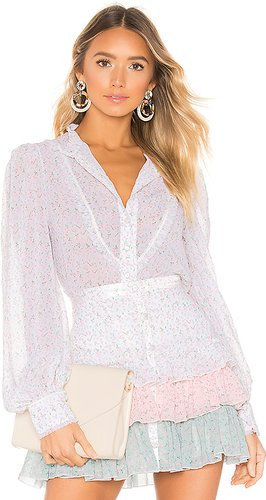 Button Up Blouse in White. - size M (also in S)