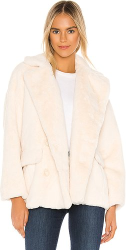 Solid Kate Faux Fur Coat in Ivory. - size M (also in L,S,XS)