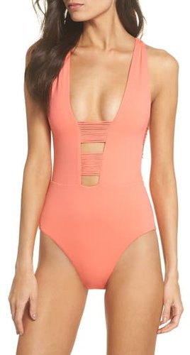 Beach Solids One-Piece Swimsuit, Size Medium - Coral