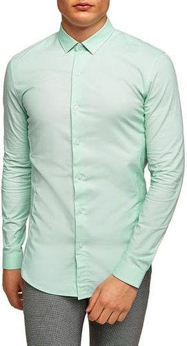 Muscle Fit Textured Shirt, Size X-Large - Green