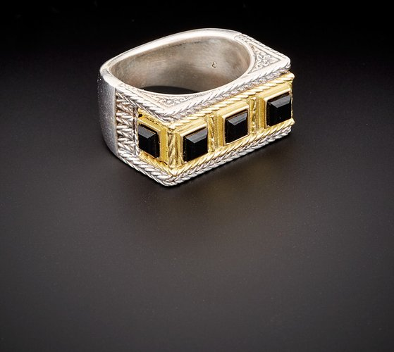 Orpheus 18K & Silver 1.50 ct. tw. Black Onyx Ring