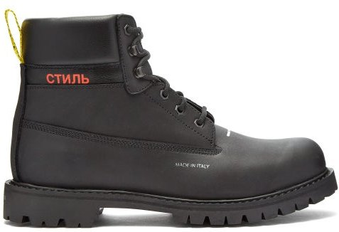 Logo Stamped Lace Up Leather Boots - Mens - Black