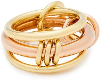Gemini 18kt Gold And Rose-gold Ring - Womens - Gold