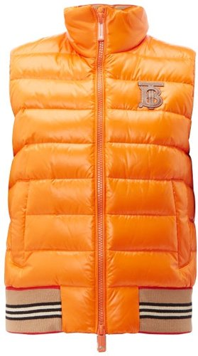 Tb Logo Quilted Technical Shell Gilet - Womens - Orange