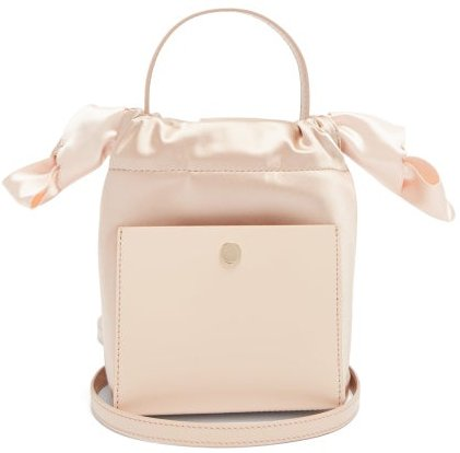 Nano Knot Leather And Satin Bucket Bag - Womens - White Multi