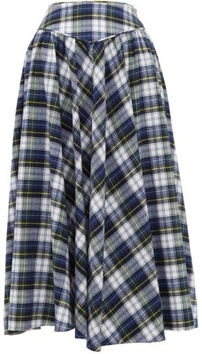 Checked Cotton Skirt - Womens - Blue Multi