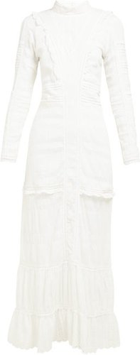 Celie High-neck Cotton-voile Maxi Dress - Womens - Ivory